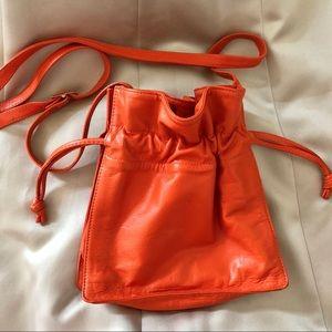 🎈Saks Fifth Avenue Orange Leather Crossbody Bag